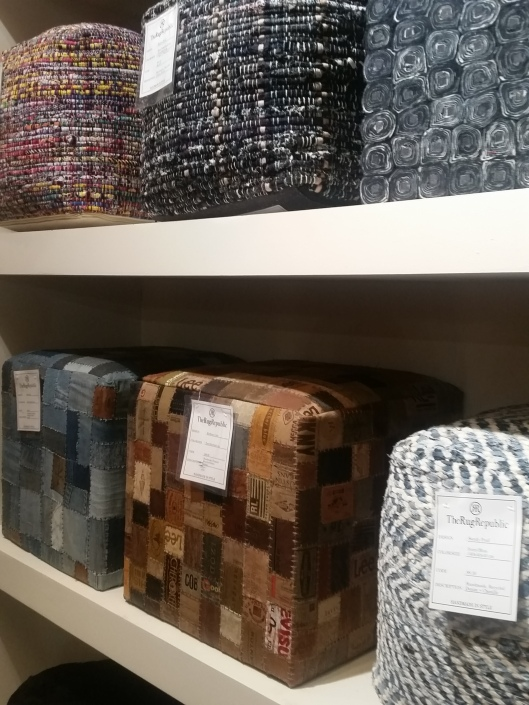 poufs made from denim and leather patches